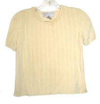 Size M - Talbots Collection Yellow Beige 100% Silk Textured Short Sleeve... - $18.99