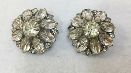 "Clip On Earrings Shimmering Rhinestone Silver Tone Metal Pair Vintage 1""... - $9.89"