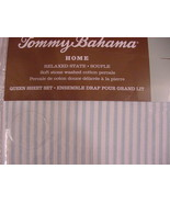 Tommy Bahama Paloma Stripe Aqua Blue/White Sheet Set Queen - $84.00