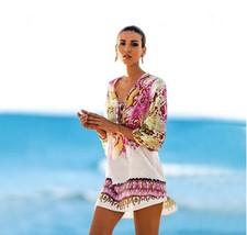 Womens Sun Coverup Beach One Size Colorful Sheer Lightweight PE - $17.77