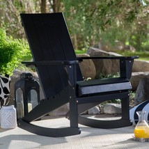 Bayside Cottage Black Adirondack Style Rocking Chair Outdoor Patio Porch... - $212.35