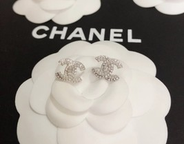 SALE***Authentic Chanel CC Logo Crystal Strass Silver Stud Earrings  image 7