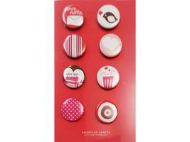 American Crafts Flair Badges, Heart U, Set of 8 #70033