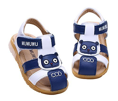 Boy's Outdoor Sandal Breathable Summer Shoes WHITE BLUE, Feet Length 14CM