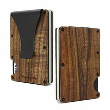 Acacia Koa Wood Credit Card Holder 3.35 * 2.16 * 0.27 inch, Dark Yellow - $63.97