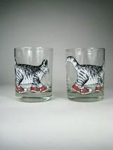 2 Kliban Tumblers Glasses Clear Walking Cat Display CHIPS Sneakers Taste... - $10.39