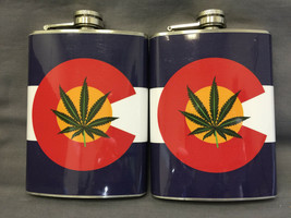 Set of 2 Colorado Flag D6 Flasks 8oz Stainless Steel Drinking Whiskey - $11.05