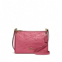 Coach Mia Ostrich Double Zip/Gusset 3 Chamber Crossbody Bag in Rouge $39... - $170.63 CAD