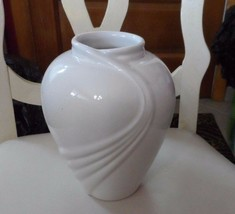 "8"" off white vase with swoosh design - $12.00"