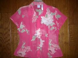 Emma James Liz Claiborne 6 Coral Pink Floral Sheer Short Sleeve Women Bl... - $9.90