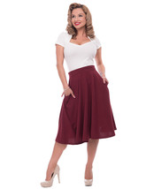 Burgundy High Waist Full Skirt w Pockets - S to 2X - Vintage Inspired at... - $50.00
