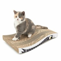 Coching Cat Scratcher Cardboard Curved Shape Scratch Pad with Unique Thr... - $17.46