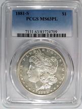 1881 S Silver Morgan Dollar PCGS MS 63 Proof Like PL Mirrors Luster Grad... - $131.74