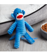 Vibrant Life Sock Monkey Dog Squeak Toy, Brown, Blue, Yellow, Pink - $12.86