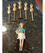 TOPPER DAWN BLONDE DOLL WHITE BLUE DRESS 1960s & 5 Gold Mannequin Stands - $51.85