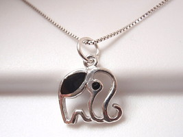 Very Small Black Onyx Elephant Necklace 925 Sterling Silver Corona Sun Jewelry - $18.80