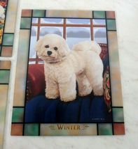 Danbury Mint Bichon Frise Puppy Dog Stained Glass Clock Michele Amatrula Season image 4