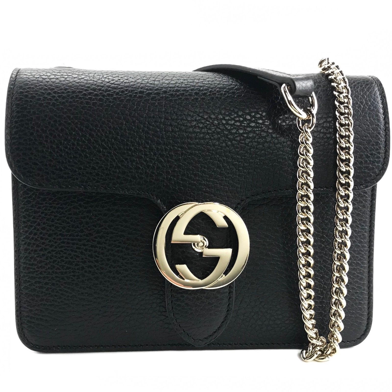 add5b1dc1c12a9 S l1600. S l1600. NEW GUCCI 510304 Interlocking Black Leather Chain Cross  Body Bag