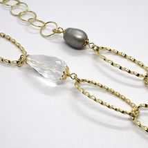 Silver necklace 925, Yellow, ONYX, GRAY PEARLS, Oval Braided, 95 cm image 4