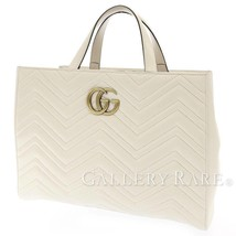 GUCCI Tote Bag Leather Off White GG Marmont 443505 Italy Authentic 5487196 - $1,219.35