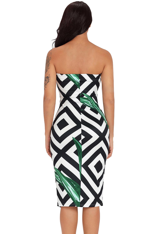 Tropical Green Leaf Print Strapless Bodycon Dress