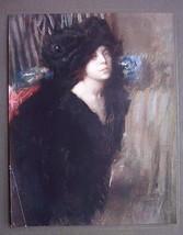 ITALIAN LADY Brunette in Black Pensive - COLOR Antique Print - $16.20