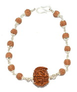 Ganesha Rudraksha Bracelet In Pure Silver - $69.30