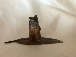 Small Owl Vintage Figurine Hand Painted Owl on a Lucky Leaf - $39.59