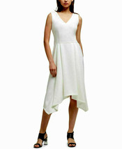 DKNY Women's Cloud White High-Low Fit & Flare Scuba Srepe Dress Size 4 $129 - $27.22