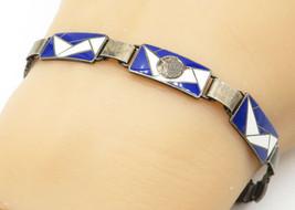 925 Silver - Vintage Antique Blue & White Enamel Mosaic Chain Bracelet -... - $41.70