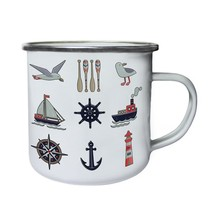 New Nautical Elements Sea Retro,Tin, Enamel 10oz Mug l131e - $13.13