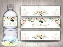 Swan Water Bottle Wrappers, Baby Shower Water Bottle Wrappers, Digital D... - $4.95