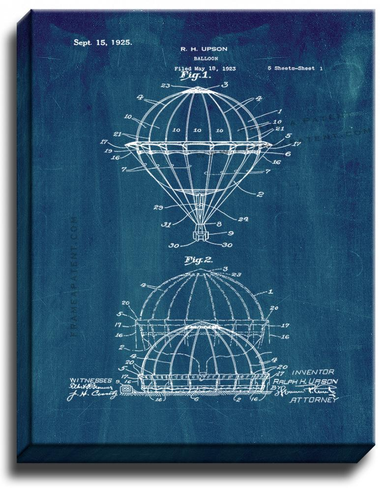 Primary image for Balloon Patent Print Midnight Blue on Canvas