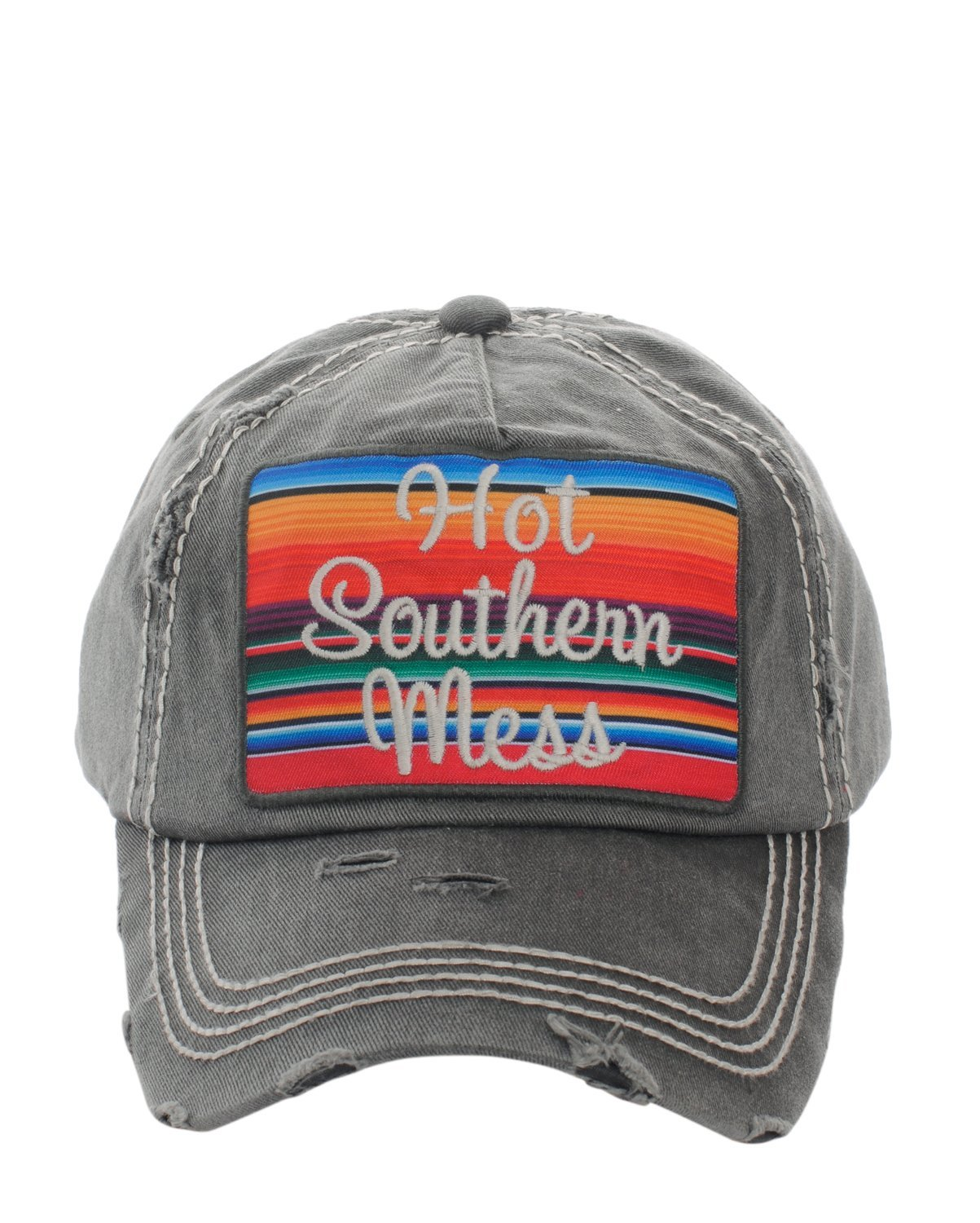 Distressed Country Vintage Style Hot Southern Mess Baseball Cap Hat (Black)