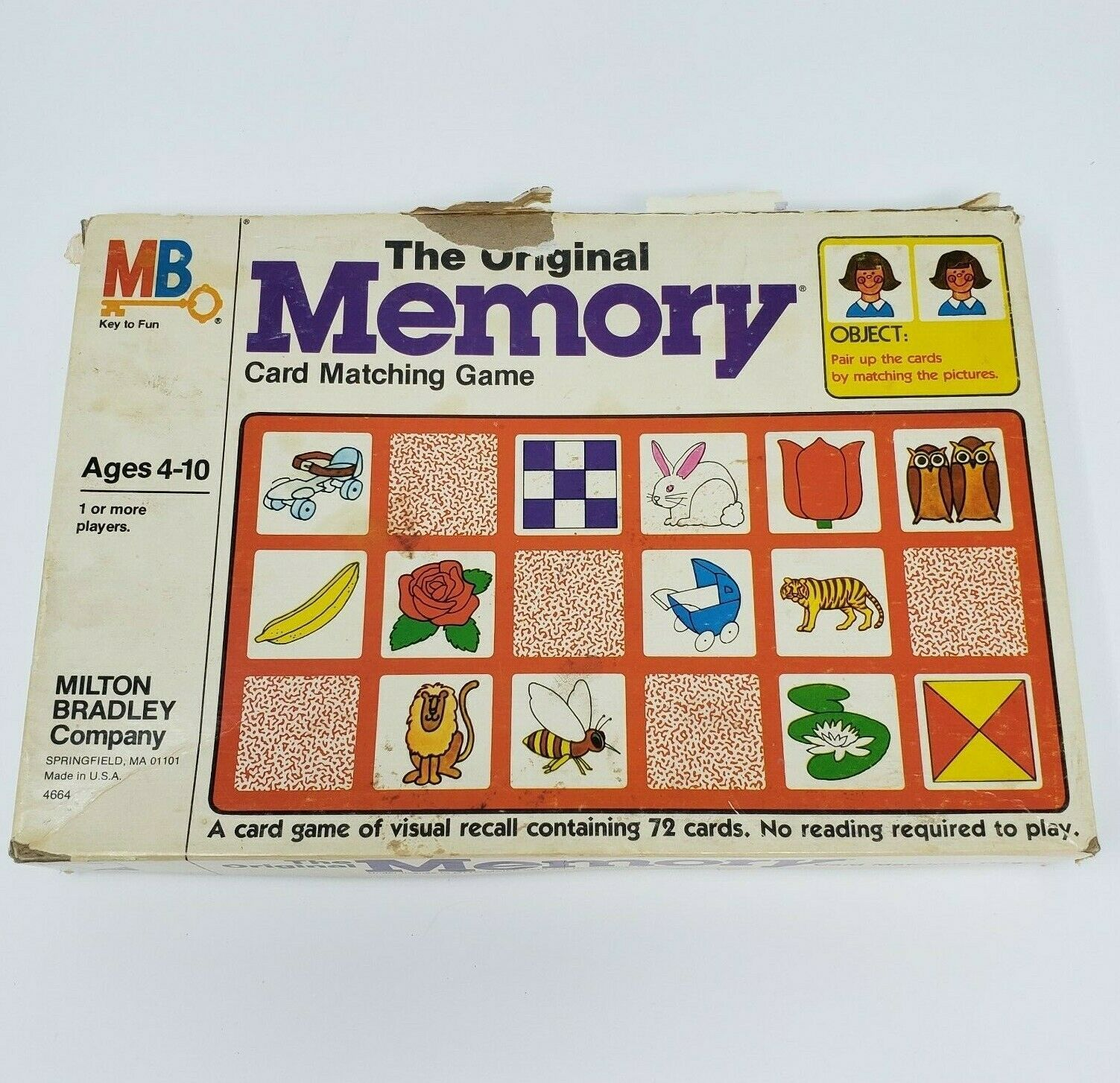 Primary image for VINTAGE 1980 MEMORY ORIGINAL MATCHING CARD GAME IN BOX ALMOST COMPLETE 68 / 72