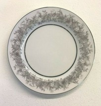 Sango Florentine China Dinner Plate White With Gray Flowers Silver Trim ... - $12.86