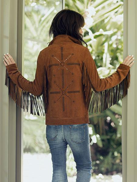 Handmade Suede Fringe Tan Jacket,Women Fashion Designer Leather jacket for women