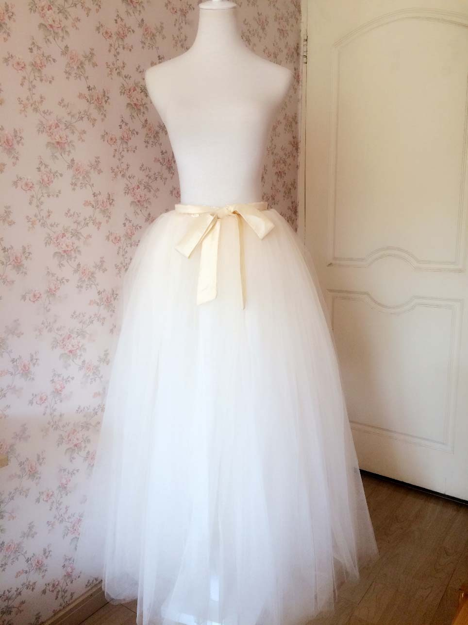 IVORY WHITE Full Length Tulle Skirt Ivory Long Tulle Wedding Skirt Bridal Skirts