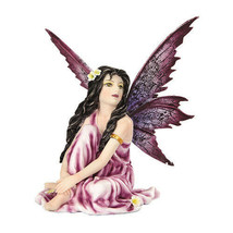 5.25 Inch Fairyland Purple Winged Fairy with Flowers Statue Figurine - $19.30