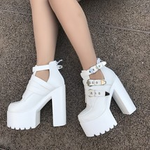 9BS022 Sexy 15 cm ankle wedge sandals, thick sole,size 4-8, white - $58.80