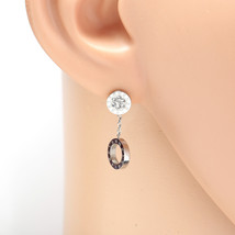 Silver Tone Designer Circle Earrings, Swarovski Style Crystals & Roman Numerals - $17.99