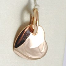 Yellow Gold Pendant, Pink 0,5 White 750 18K, Heart, Solid, Engravable - $224.21