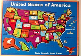 Wooden United States of America Map Puzzle State Capitals 45 Pieces Educ... - $15.79