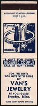 Vintage matchbook cover VANS JEWELRY couple and ring pictured Brooten Mi... - $5.39