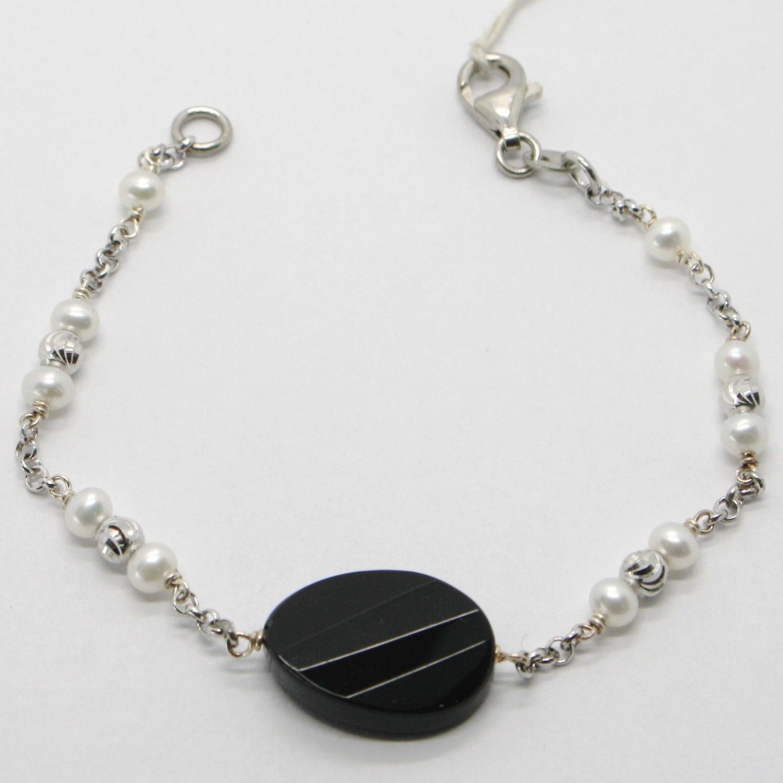925 STERLING SILVER BRACELET WITH BIG FACETED OVAL BLACK ONYX & WHITE PEARLS