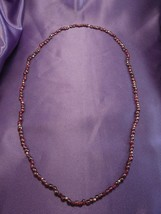 Dark Brown Red Glass Beaded Necklace W/ Gold Tone Bead Accents - $17.82