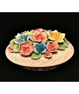 Trinket Bowl with Lid Applied Flowers Pearl Porcelain Japan 7 inches Long  - $47.52