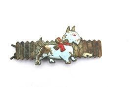 Shabby 30s vtg SCOTTIE DOG BARRETTE Blue Enamel Painted Brass snap clip ... - $8.64