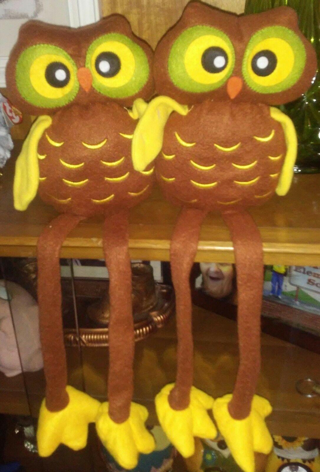 Pair Fabric Owl Shelf Sitter Long Legs Fall Brown