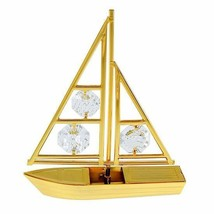 Sailboat Figurine 24k Gold Plated Spectra Crystals by Swarovski Tabletop... - $18.76